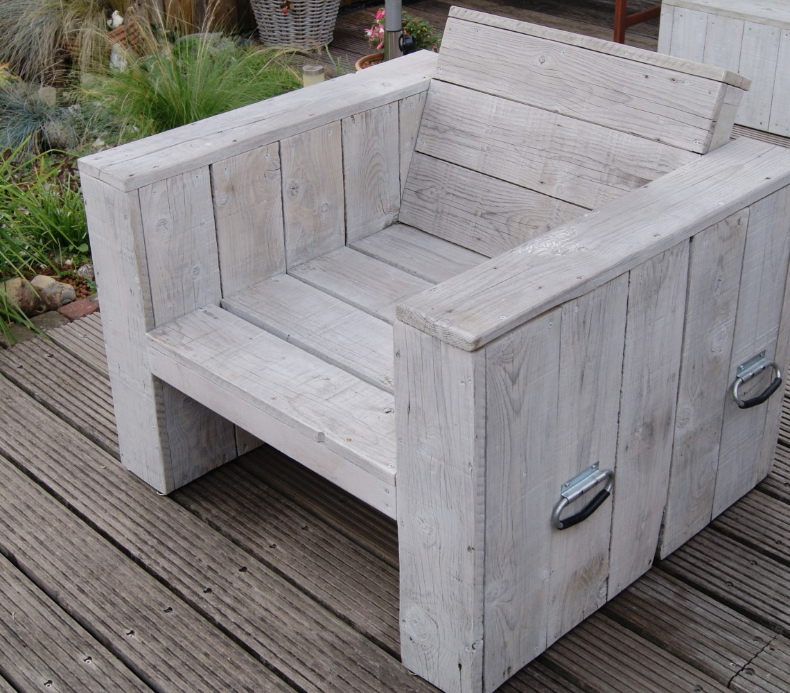 Steigerhouten stoelen gemaakt door steigerhout weesp - Comfortabele lounge stoel ...
